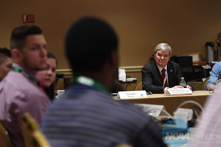 17 JAN 2017:  The NCAA Division III SAAC meeting takes place during the 2017 NCAA Convention takes place at the Gaylord Opryland Resort & Convention Center in Nashville, TN. Justin Tafoya/NCAA Photos (Pictured: Mark Emmert)