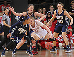 SIOUX FALLS, SD - MARCH 7:  Kaylan Mayberry #1 and Blair Bryce #30 of Oral Roberts and Bridget Arens #22 of South Dakota go after a loose ball in the 2016 Summit League Tournament. (Photo by Dick Carlson/Inertia)