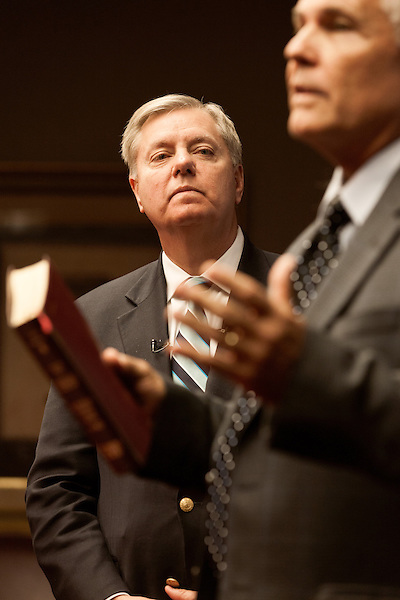 March 26, 2013. Columbia, South Carolina. Sen. Lindsey Graham waits to address members of the press on the issue of immigration reform. He was joined by Dr. Jim Goodroe, a state evangelical leader.. Sen. Lindsey Graham, R- South Carolina, is up for reelection in 2014. He spent some time talking to his base back home about issues such as immigration reform as he readies himself for his campaign run..