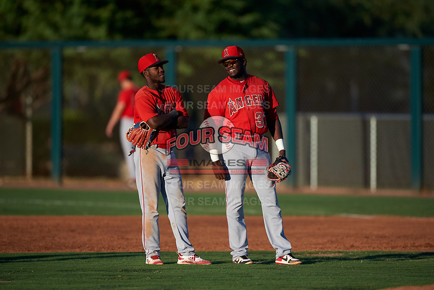 AZL Angels infielders Julio De La Cruz (44) and Cristian Gomez (37) talk during a pitching change in an Arizona League game against the AZL D-backs on July 20, 2019 at Salt River Fields at Talking Stick in Scottsdale, Arizona. The AZL Angels defeated the AZL D-backs 11-4. (Zachary Lucy/Four Seam Images)