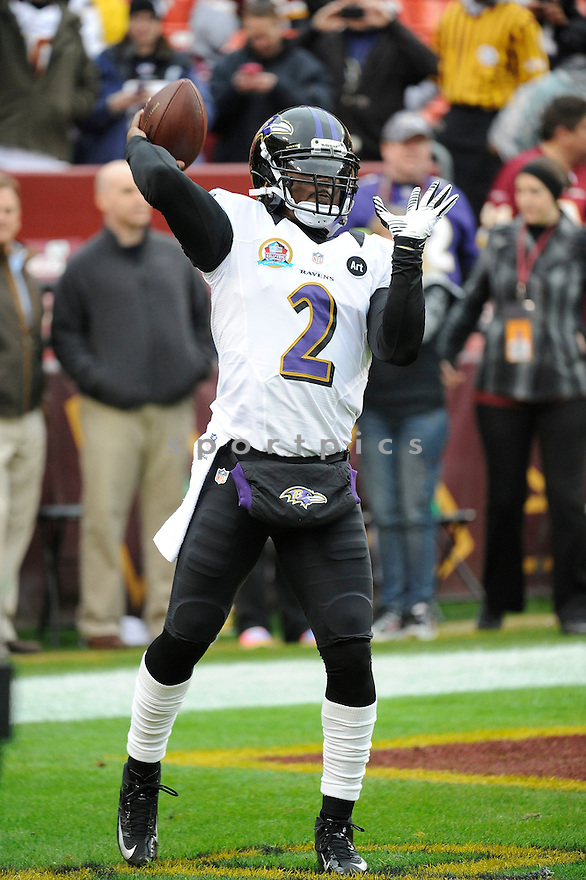 Baltimore Ravens Tyrod Taylor (2) in action during a game against the Redskins on December 9, 2012 at FedExField in Washington, DC. The Redskins beat the Ravens 31-28.