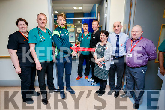 Pictured at the opening of the updated rooms in the Paediatric part of the Emergency Department at University Hospital Kerry, on Friday morning last were l-r: Anita Keane (Emergency Department), Martin Boyd (Consultant Emergency Medicine), Donnacha Walsh (Kerry Footballer) Herlo Coetzer (Consultant Emergency Medicine) Finbarr O'Mahony (Emergency Department), Claire O'Brien (Clinical Director), Fearghal Grimes (General Manager) and Aidan Cullinane (Maintenance Manager).