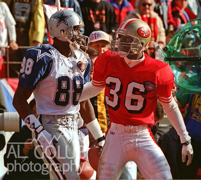 San Francisco 49ers vs. Dallas Cowboys at Candlestick Park Sunday, January 15, 1995.  49ers beat Cowboys 38-28.  Dallas Cowboys wide receiver Michael Irvin (88)  and San Francisco 49ers defensive back Merton Hanks (36).