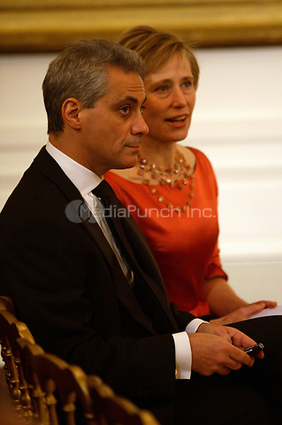 Washington, DC - December 6, 2009 -- White House Chief of Staff Rahm Emanuel and wife Amy Rule shown prior to a White House East Room reception for the recipients of the 2009 Kennedy Center Honors, in Washington, DC, Sunday, December 6, 2009.<br /> Credit: Martin H. Simon / Pool via CNP /MediaPunch