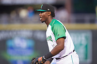 Dayton Dragons first baseman Montrell Marshall (26) on defense against the Bowling Green Hot Rods at Fifth Third Field on June 8, 2018 in Dayton, Ohio. The Hot Rods defeated the Dragons 11-4.  (Brian Westerholt/Four Seam Images)