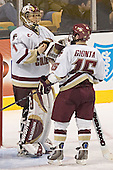 Cory Schneider, Stephen Gionta - The Boston College Eagles defeated the Northeastern University Huskies 5-2 in the opening game of the 2006 Beanpot at TD Banknorth Garden in Boston, MA, on February 6, 2006.