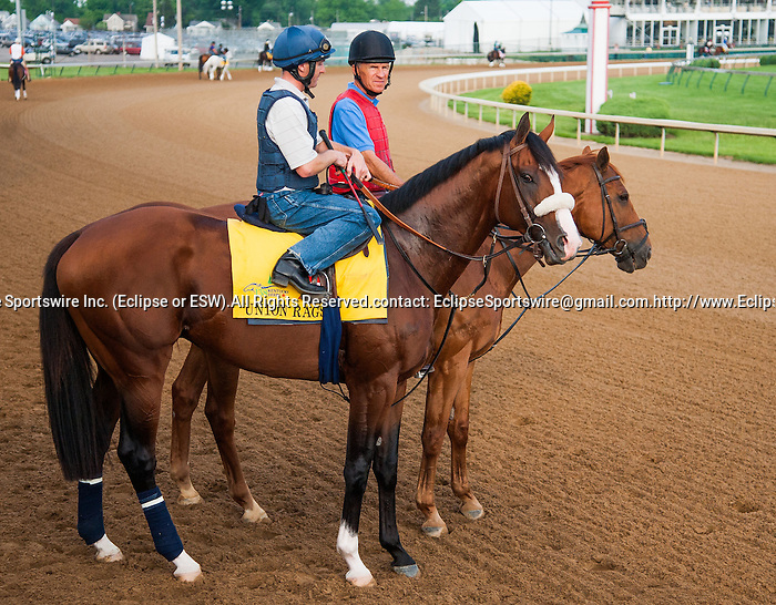 Union Rags, trained by Michael Matz and to be ridden by Julien Leparoux, works out in preparation for the 138th Kentucky Derby at Churchill Downs in Louisville, Kentucky on May 3, 2012