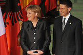 Baden-Baden, Germany - April 4, 2009 -- Angela Merkel, Chancellor of the Federal Republic of Germany and her husband welcome Heads of State and Government to the NATO Summit in Baden-Baden, Germany on Saturday, April 4, 2009.   .Mandatory Credit: NATO via CNP