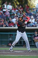 Edwin Moreno (15) of the Lake Elsinore Storm bats against the Inland Empire 66ers at San Manuel Stadium on April 29, 2017 in San Bernardino, California. Inland Empire defeated Lake Elsinore, 3-1. (Larry Goren/Four Seam Images)