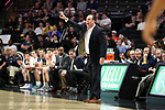 WINSTON-SALEM, NC - FEBRUARY 24: Notre Dame head coach Mike Brey. The Wake Forest University Demon Deacons hosted the University of Notre Dame Fighting Irish on February 24, 2018 at Lawrence Joel Veterans Memorial Coliseum in Winston-Salem, NC in a Division I men's college basketball game. Notre Dame won the game 76-71.