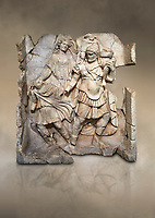 Roman Sebasteion relief  sculpture of Aineas' flight from Troy, Aphrodisias Museum, Aphrodisias, Turkey.  Against an art background.<br /> <br /> Aineas in armour carries his aged farther Anchises on his shoulders and leads his young son Lulus by his hand. They are fleeing from the sack of Troy. The figure floating behind is Aphrodite, Aineas' mother: she is helping their escape. Old Anchises carries a round box that held images of Troy's ancestral gods.