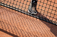 Amstelveen, Netherlands, 10 August 2020, NTC, National Tennis Center, tennisnet with shoe. <br /> Photo: Henk Koster/tennisimages.com