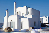 The exterior of the white-washed Villa Orpheus on the Greek island of Mykonos.
