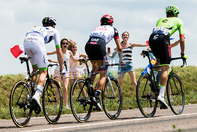 The breakaway group Maxime Bouet (FRA) Fortuneo-Oscaro, Manuele Mori (ITA) UAE Team Emirates and Dylan Van Baarle (NED) Cannondale Drapac during Stage 7 of the 104th edition of the Tour de France 2017, running 213.5km from Troyes to Nuits-Saint-Georges, France. 7th July 2017.<br /> Picture: ASO/Alex Broadway | Cyclefile<br /> <br /> <br /> All photos usage must carry mandatory copyright credit (&copy; Cyclefile | ASO/Alex Broadway)