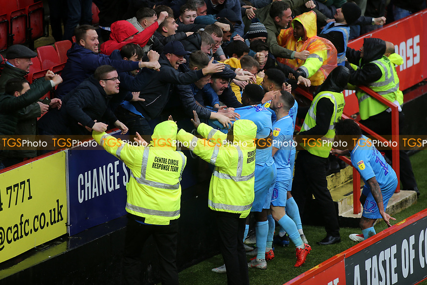 Amadou Bakayoko celebrates scoring Coventry City's second goal with the away fans during Charlton Athletic vs Coventry City, Sky Bet EFL League 1 Football at The Valley on 6th October 2018