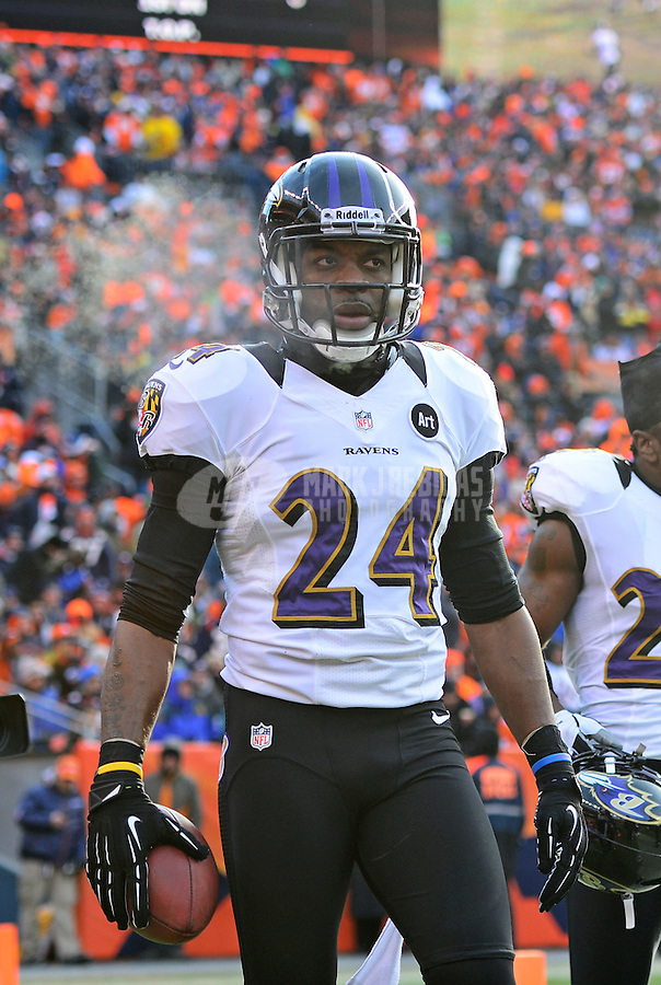 Jan 12, 2013; Denver, CO, USA; Baltimore Ravens cornerback Corey Graham (24) against the Denver Broncos during the AFC divisional round playoff game at Sports Authority Field.  Mandatory Credit: Mark J. Rebilas-