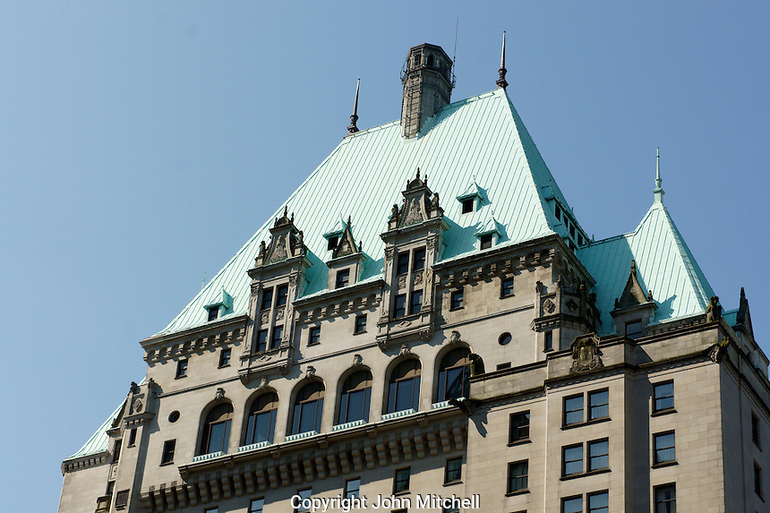 Roof of the Fairmont Hotel Vancouver in downtown Vancouver, British Columbia, Canada. This heritage hotel was the 3rd Hotel Vancouver and took 11 years to complete.                .