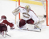 Steven Guzzo (UMass - 9), Parker Milner (BC - 35) - The Boston College Eagles defeated the visiting University of Massachusetts-Amherst Minutemen 2-1 in the opening game of their 2012 Hockey East quarterfinal matchup on Friday, March 9, 2012, at Kelley Rink at Conte Forum in Chestnut Hill, Massachusetts.