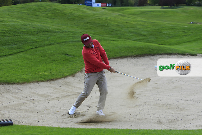 Andy Sullivan (ENG) in a bunker on the 14th during Monday's Practice round of the Dubai Duty Free Irish Open Trophy at The K Club, Straffan, Co. Kildare<br /> Picture: Golffile | Thos Caffrey<br /> <br /> All photo usage must carry mandatory copyright credit <br /> (&copy; Golffile | Thos Caffrey)