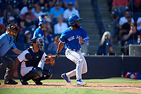 Toronto Blue Jays center fielder Roemon Fields (86) follows through on a swing in front of catcher Jorge Saez (80) and home plate umpire Dan Iassogna during a Grapefruit League Spring Training game against the New York Yankees on February 25, 2019 at George M. Steinbrenner Field in Tampa, Florida.  Yankees defeated the Blue Jays 3-0.  (Mike Janes/Four Seam Images)