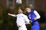 06 November 2012: UNC's Andy Craven (10) and Duke's Nat Eggleston (18) challenge for a header. The University of North Carolina Tar Heels defeated the Duke University Blue Devils 1-0 at Fetzer Field in Chapel Hill, North Carolina in a 2012 NCAA Division I Men's Soccer game. The game was an Atlantic Coast Conference quarterfinal match.