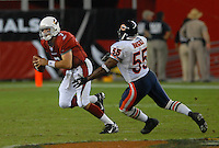 Oct. 16, 2006; Glendale, AZ, USA; Arizona Cardinals quarterback (7) Matt Leinart is pressured by Chicago Bears linebacker (55) Lance Briggs at University of Phoenix Stadium in Glendale, AZ. Mandatory Credit: Mark J. Rebilas