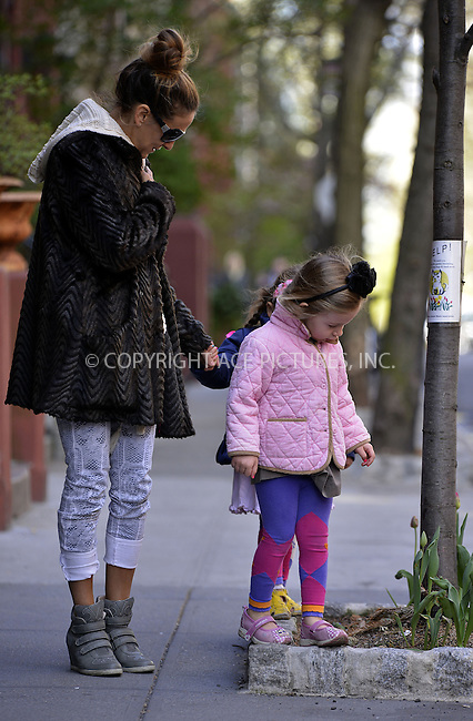 WWW.ACEPIXS.COM....April 22 2013, New York City....Sarah Jessica Parker takes twin Marion and Tabitha to school on April 22 2013 in New York City......By Line: Curtis Means/ACE Pictures......ACE Pictures, Inc...tel: 646 769 0430..Email: info@acepixs.com..www.acepixs.com