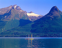 Sailboats reflected in Valdez inlet, Alaska