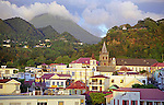 Evening falls upon Roseau, the main town on the island of Dominica