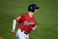 Billings Mustangs Cash Case (9) rounds third base during a Pioneer League game against the Grand Junction Rockies at Dehler Park on August 14, 2019 in Billings, Montana. Grand Junction defeated Billings 8-5. (Zachary Lucy/Four Seam Images)