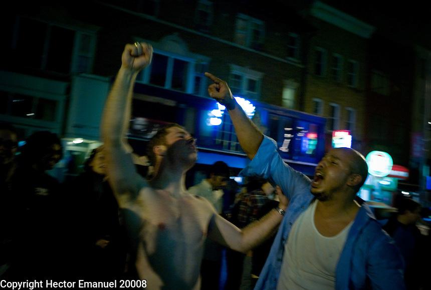 Washington DC Celebration..people take to streets of the Adams Morgan neighborhood (popular late night area) to celebrate Obama's victory...Washington, DC 11/04/2008