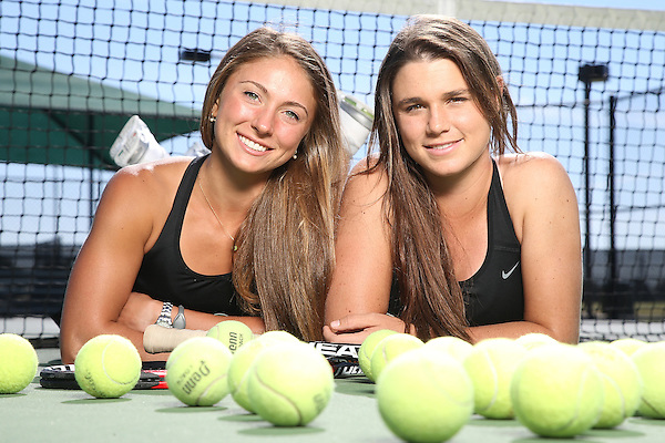 DENTON TX - OCTOBER 25:  Ana Sofia Cordero and Alexis Thoma freshman of the North Texas Mean Green Tennis team at Waranch Tennis Center in Denton on October 25, 2013 in Denton, Texas. (Photo by Rick Yeatts)