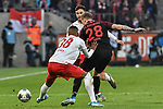 30.11.2019, Rheinenergiestadion, Köln, GER, DFL, 1. BL, 1. FC Koeln vs FC Augsburg, DFL regulations prohibit any use of photographs as image sequences and/or quasi-video<br /> <br /> im Bild v. li. im Zweikampf Ismael Jacobs (#38, 1.FC Köln / Koeln) Jonas Hector (#14, 1.FC Köln / Koeln) Andre Hahn (#28, FC Augsburg) <br /> <br /> Foto © nordphoto/Mauelshagen