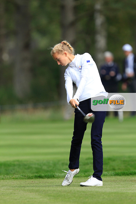 Alexandra Forsterling (GER) on the 5th tee of the Mixed Fourballs, puts to go two up during the 2014 JUNIOR RYDER CUP at the Blairgowrie Golf Club, Perthshire, Scotland. <br /> Picture:  Thos Caffrey / www.golffile.ie