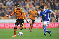 Wolverhampton Wanderers' Helder Costa vies for possession with Birmingham City's Maxime Colin<br /> <br /> Photographer Ashley Crowden/CameraSport<br /> <br /> The EFL Sky Bet Championship - Wolverhampton Wanderers v Birmingham City - Sunday 15th April 2018 - Molineux - Wolverhampton<br /> <br /> World Copyright &copy; 2018 CameraSport. All rights reserved. 43 Linden Ave. Countesthorpe. Leicester. England. LE8 5PG - Tel: +44 (0) 116 277 4147 - admin@camerasport.com - www.camerasport.com