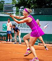 Paris, France, 01 June, 2018, Tennis, French Open, Roland Garros, Womans Doubles : Kiki Bertens (NED) (foreground) and Johanna Larsson (SWE)<br /> Photo: Henk Koster/tennisimages.com