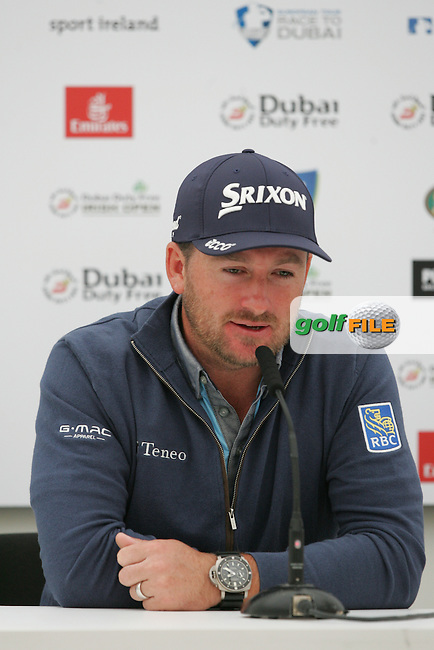 Gaeme McDowell (NIR) during a media interview ahead of the 2016 Dubai Duty Free Irish Open Hosted by The Rory Foundation which is played at the K Club Golf Resort, Straffan, Co. Kildare, Ireland. 18/05/2016. Picture Golffile   TJ Caffrey.<br /> <br /> All photo usage must display a mandatory copyright credit as: &copy; Golffile   David Lloyd.