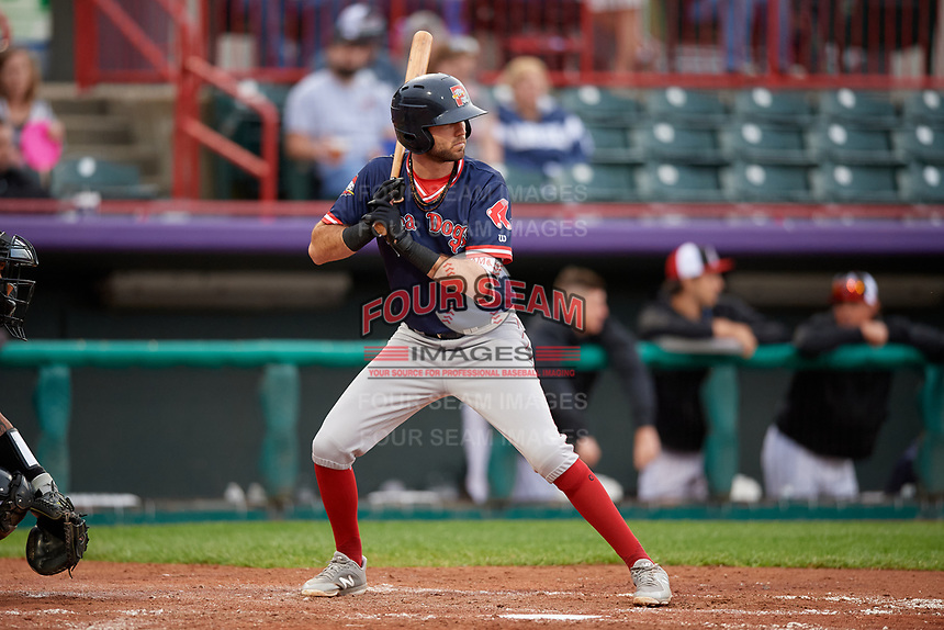 Portland Sea Dogs C.J. Chatham (15) at bat during an Eastern League game against the Erie SeaWolves on June 17, 2019 at UPMC Park in Erie, Pennsylvania.  Portland defeated Erie 6-3.  (Mike Janes/Four Seam Images)