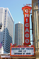 The famous Chicago Theatre sign on Memorial Day