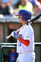 Buffalo Bisons second baseman Ryan Goins (10) on deck during a game against the Lehigh Valley IronPigs on May 17, 2014 at Coca-Cola Field in Buffalo, New  York.  Lehigh Valley defeated Buffalo 2-1  (Mike Janes/Four Seam Images)