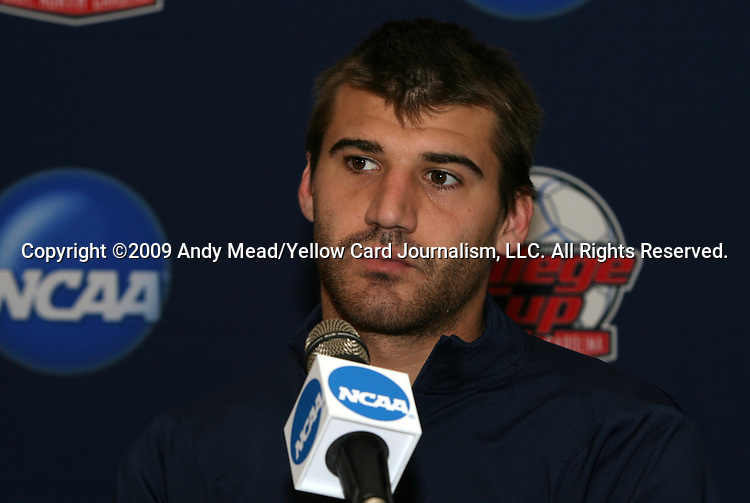 12 December 2009: Chase Neinken. The University of Virginia Cavaliers held a press conference at WakeMed Soccer Stadium in Cary, North Carolina on the day before playing Akron in the NCAA Division I Men's College Cup championship game.