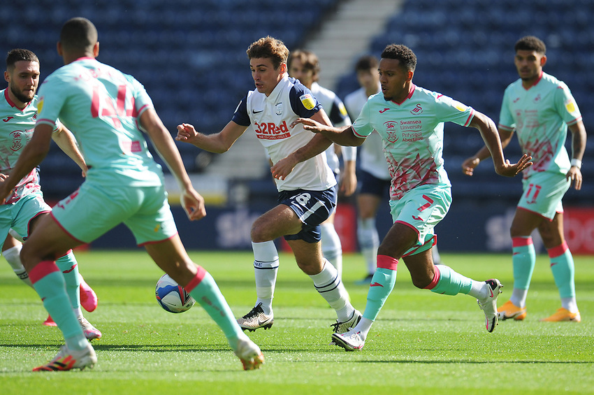 Preston North End's Ryan Ledson under pressure from Swansea City's Korey Smith<br /> <br /> Photographer Kevin Barnes/CameraSport<br /> <br /> The EFL Sky Bet Championship - Preston North End v Swansea City - Saturday September 12th 2020 - Deepdale - Preston<br /> <br /> World Copyright © 2020 CameraSport. All rights reserved. 43 Linden Ave. Countesthorpe. Leicester. England. LE8 5PG - Tel: +44 (0) 116 277 4147 - admin@camerasport.com - www.camerasport.com
