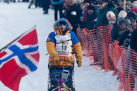 Musher # 18 Bjornar Andersen at the Restart of the 2009 Iditarod in Willow Alaska