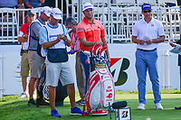Jon Rahm (ESP), Adam Scott (AUS) on the 1st tee during the first round of the WGC Bridgestone Invitational, Firestone country club, Akron, Ohio, USA. 03/08/2017.<br /> Picture Ken Murray / Golffile.ie<br /> <br /> All photo usage must carry mandatory copyright credit (&copy; Golffile | Ken Murray)
