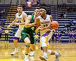 University at Albany men's basketball defeats Binghamton University 71-54  at the  SEFCU Arena, Feb. 27, 2018.  David Nichols (#13) drives. (Bruce Dudek / Cal Sport Media/Eclipse Sportswire)