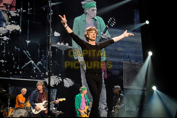 Mick Jagger<br /> The Rolling Stones &quot;50 &amp; Counting&quot; Tour live at TD Garden, Boston, Massachusetts, USA 14th June 2013<br /> on stage in concert live gig performance performing music half length black 3/4 hands arms in air<br /> CAP/ADM/RP<br /> &copy;Randy PollickAdMedia/Capital Pictures