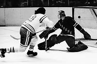 Seals vs New York Rangera 1974.Seals  Dave Hrechkosy scores on Ranger goalie Ed Giacomin.<br />(photo/Ron Riesterer)