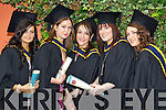 General Nursing graduates pictured at the ITT graduations in the Brandon Hotel on Friday, from left: Natalie Dignam (Castleisland), Noreen Browne (Scartaglen), Marie Dillane (Tralee), Diane Murphy (Dingle) and Karen James (Ballyheigue).