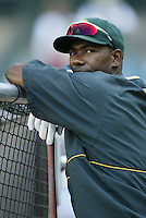 Miguel Tejada of the Oakland Athletics before a 2002 MLB season game against the Los Angeles Angels at Angel Stadium, in Anaheim, California. (Larry Goren/Four Seam Images)