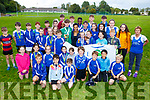Dame Kelly Holmes with the juvenile athletes on her visit  to the Harriers Running Club on Thursday.